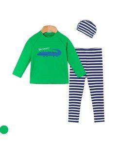 Green Croco Lash Guard Swimsuit Set