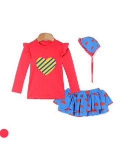 Heart Talk Talk Lash Guard Swimsuit Set