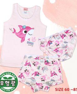 Shark Pink Girls' Cotton Span Underwear Set